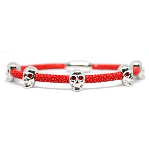Bracelet | Multi Skull | Red/Silver