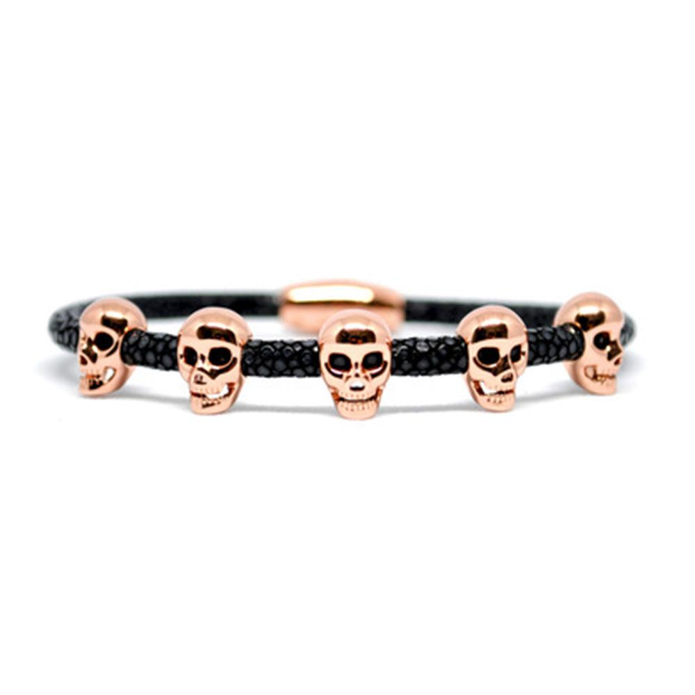 Skull Bracelet | Black with Rose Gold Skulls | Double Bone