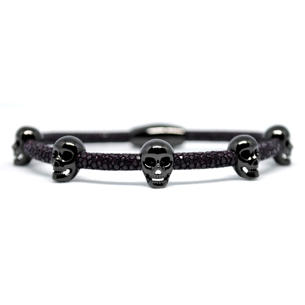Skull Bracelet | Purple with Black Skulls | Double Bone