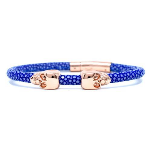 Bracelet | 2 Skulls | Blue/Rose Gold