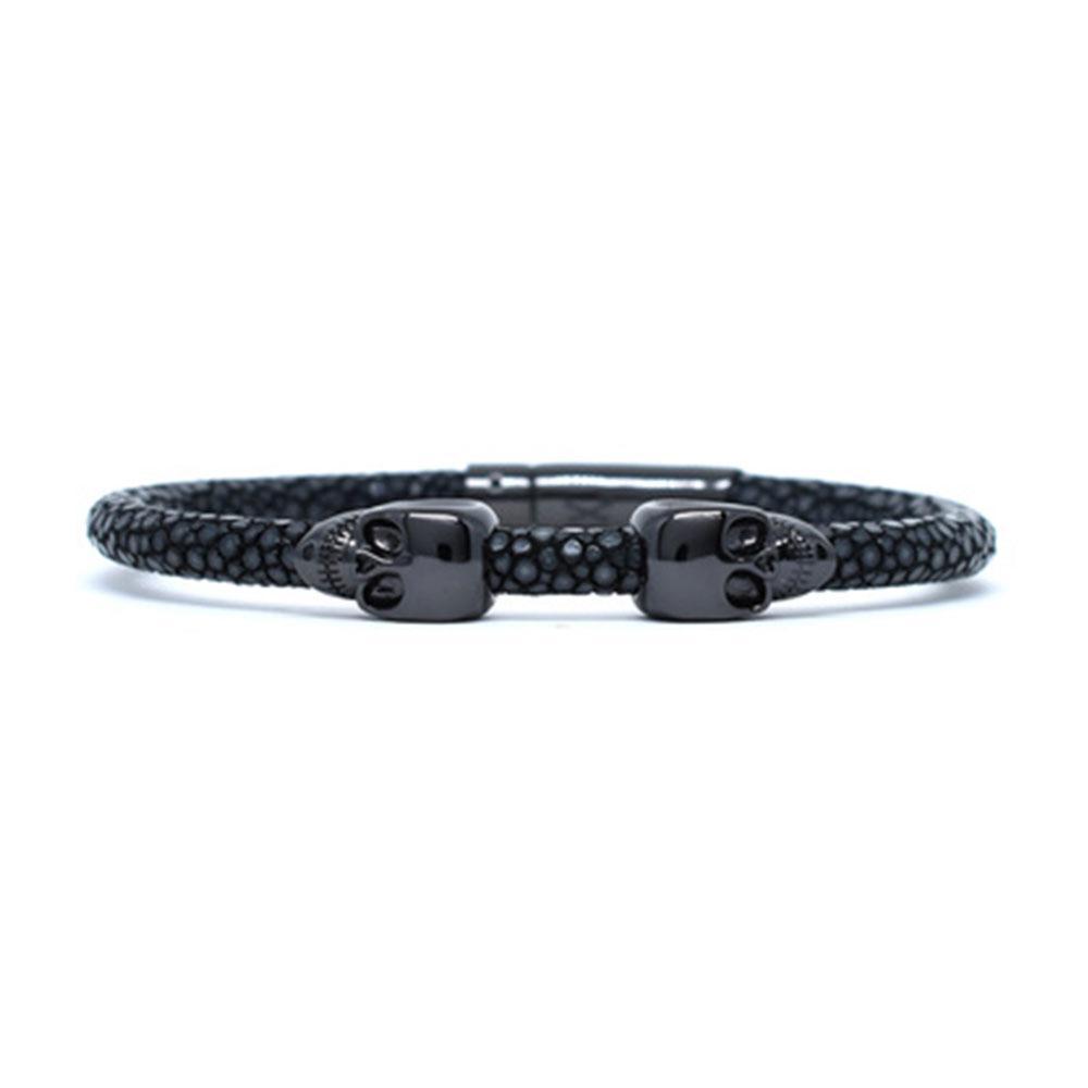 Skull Bracelet   Black   2 Black Skulls   Double Bone