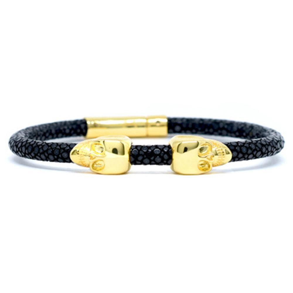 Skull Bracelet   Black   2 Gold Skulls   Double Bone