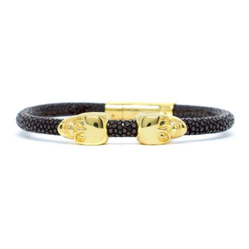 Bracelet | 2 Skulls | Brown/Gold
