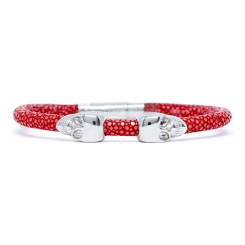 Bracelet | 2 Skulls | Red/Silver