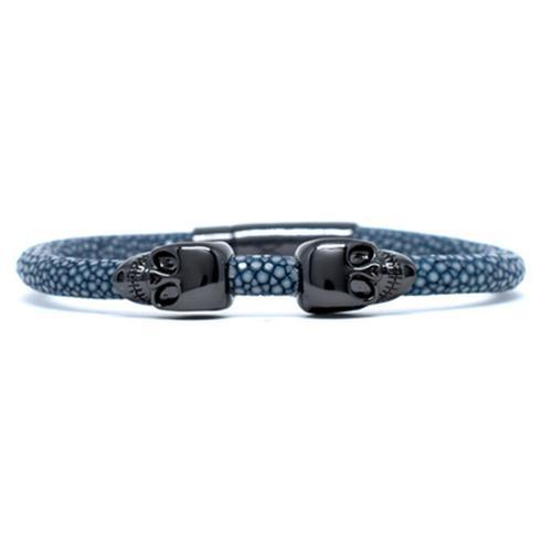 Bracelet | 2 Skulls | Gray/Black