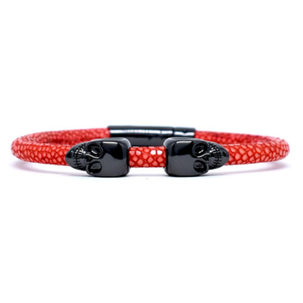 Skull Bracelet | Red | 2 Black Skulls | Double Bone