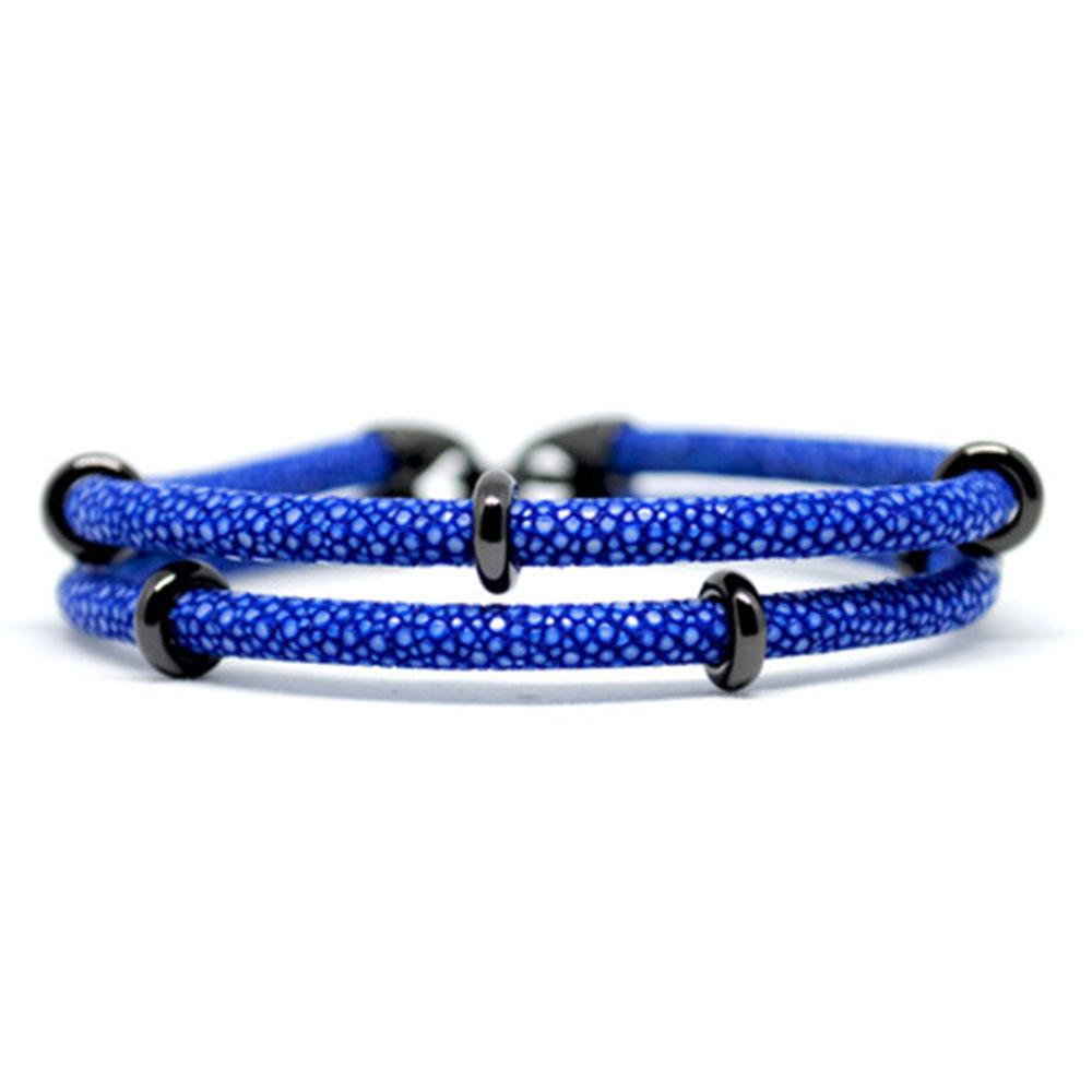 Double Stingray Bracelet | Blue & Black | Double Bone