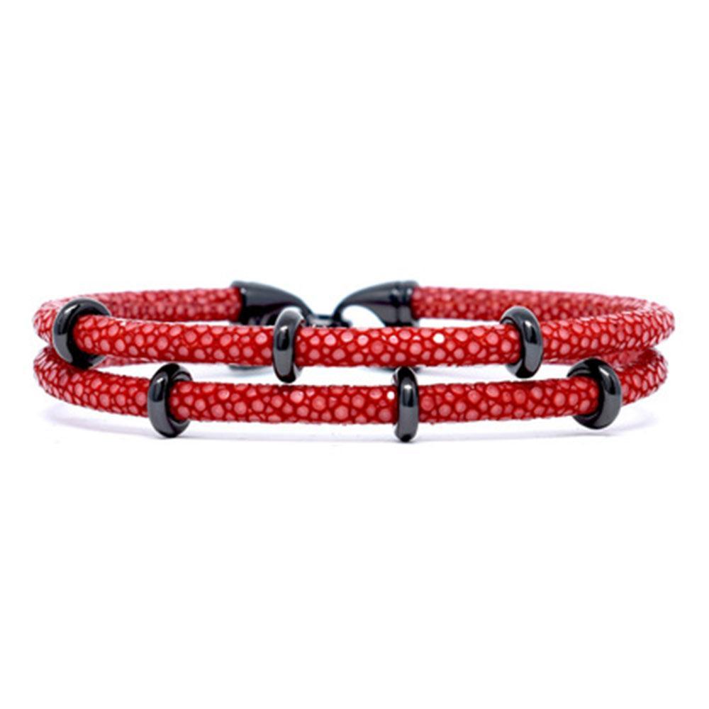 Double Stingray Bracelet   Red & Black   Double Bone