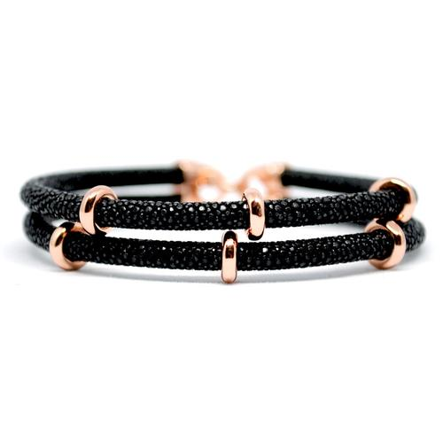Bracelet | 2x Sting | Black/Rose Gold