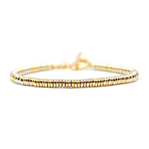 Bracelet | Single Beads | White/Gold