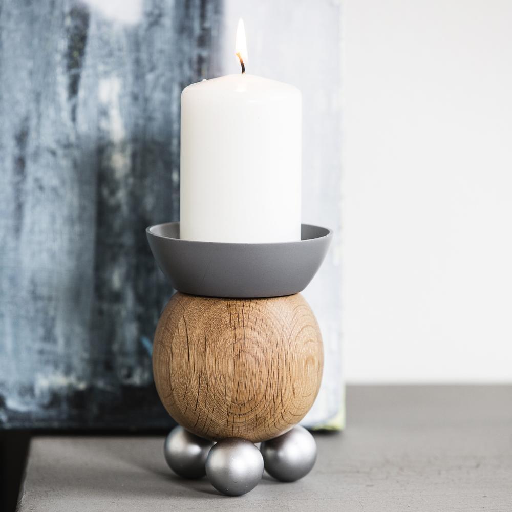 Scandinavian Candle Holder   Steel & Wood   Sagaform