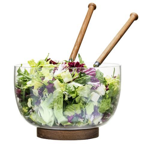 Glass Salad Bowl With Oak Trivet