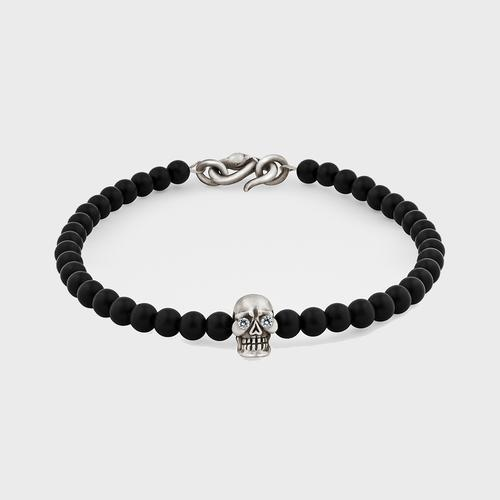 Skull Bracelet | Sterling Silver w/ Diamond Eyes