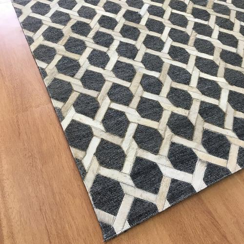 Handmade Jacquard Leather Charcoal Ivory Rug