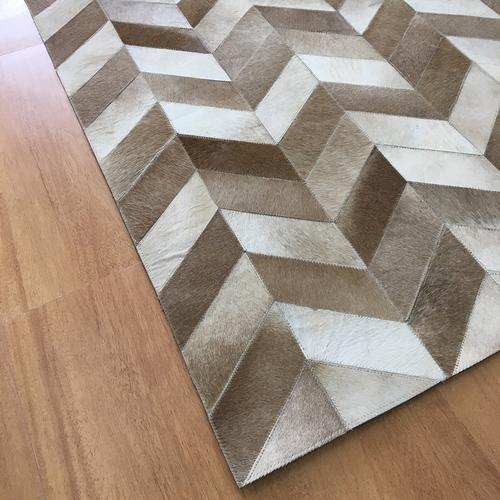 Handmade Leather Brown Ivory Rug