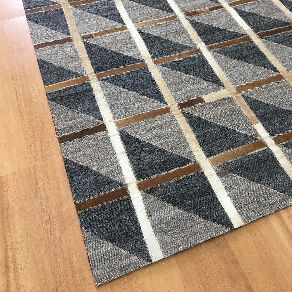Handmade Jacquard Leather Brown Charcoal Rug   Leather Rugs