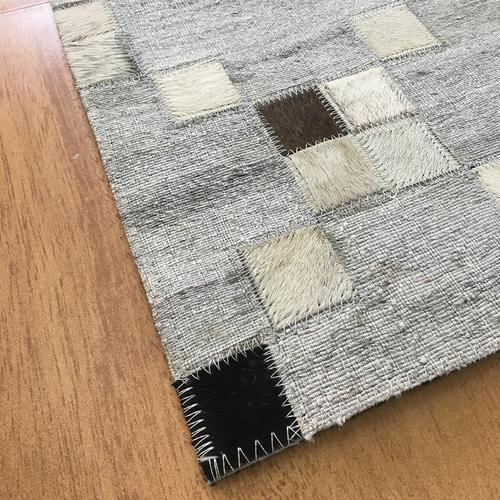 Handmade Jacquard Leather Gray | Charcoal Rug | Leather Rugs