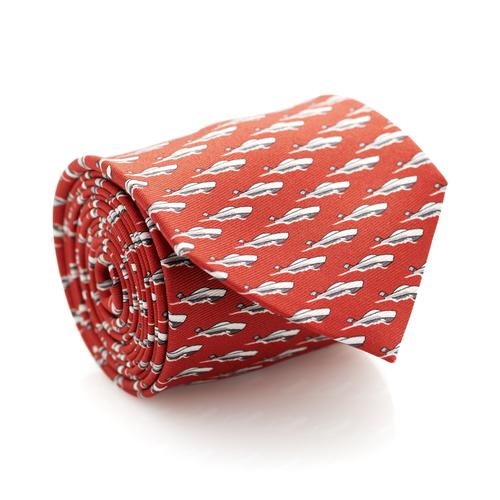 Necktie | Red with Sailboats Pattern
