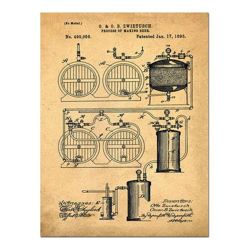 Brewery Patent - 1891- Sepia/Antique   Paper
