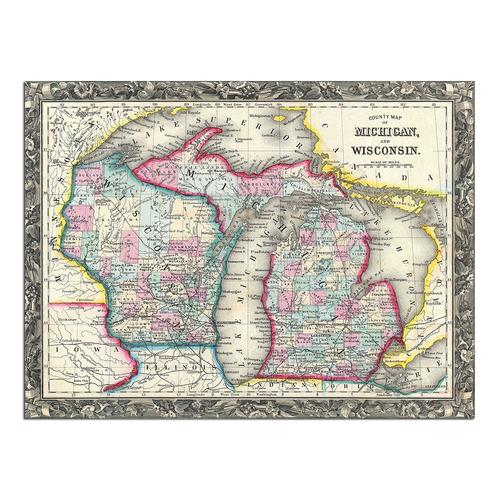 County map of Michigan and Wisconsin | Paper