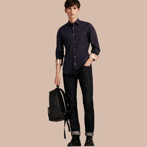 NAVY STRETCHED COTTON SHIRT