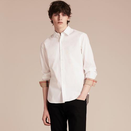 WHITE STRETCHED COTTON