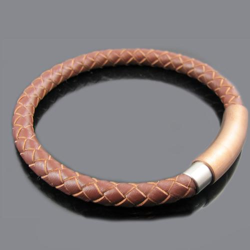 Brown Leather Stainless Steel ID Bracelet