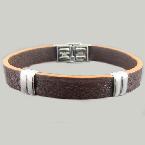 Brown Leather Stainless Steel Bead Bracelet
