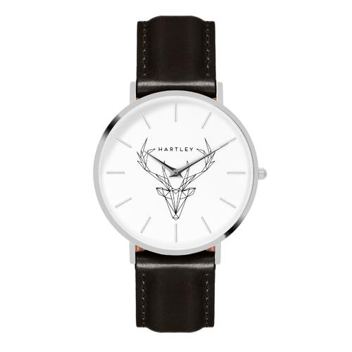 Woodland Silver   White Dial   Black Leather Strap