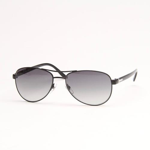 Matte Black Aviator Sunglasses With Grey Gradient Lens
