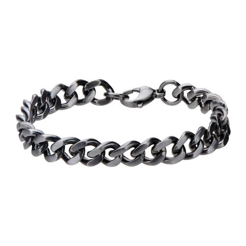 Men's Stainless Steel Gun Metal Brushed Curb Chain