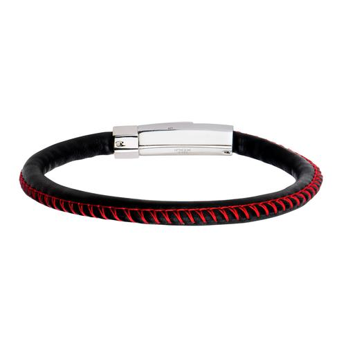 Men's Smooth Black Woven Leather Band and Red Stitch