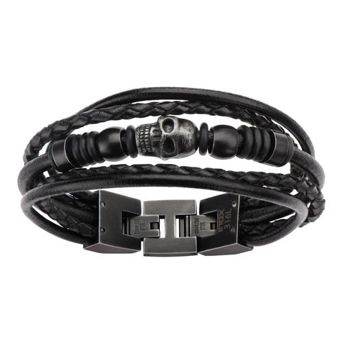 Black Leather & Black Skull Beads Bracelet