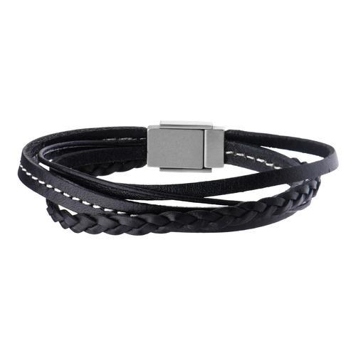 Men's Black Leather in White Tread Bracelet
