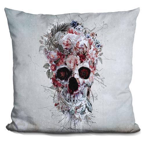 Riza Peker 'Floral Skull RPE' Throw Pillow