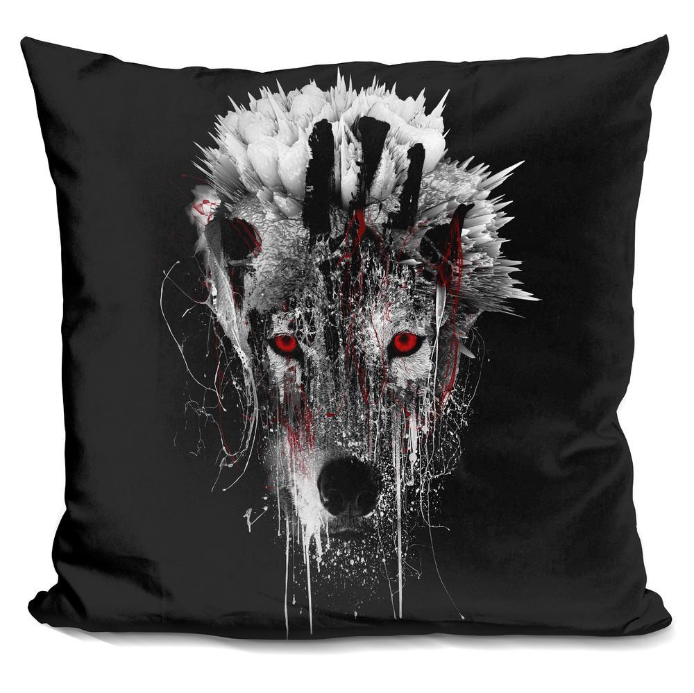 Riza Peker  WOLF - RED EYE  Throw Pillow