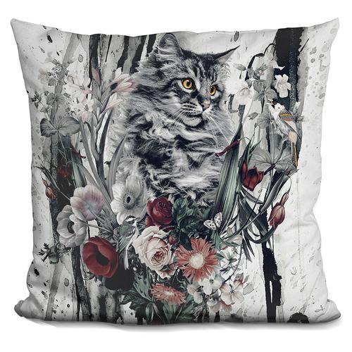 Riza Peker 'Cat in flowers' Throw Pillow