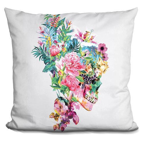 Riza Peker 'Skull VI' Throw Pillow