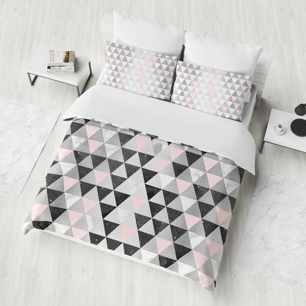 Silver Triangle Geometry Duvet Cover Set
