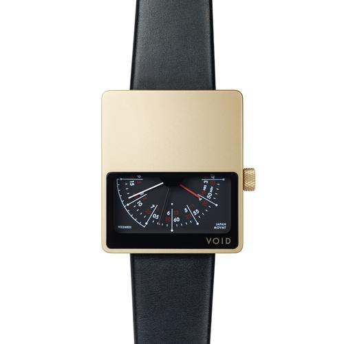 Matte Gold Analogue w Black leather strap | Gold buckle