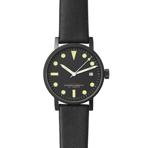 Satin matte Black Mechanical | Black leather strap