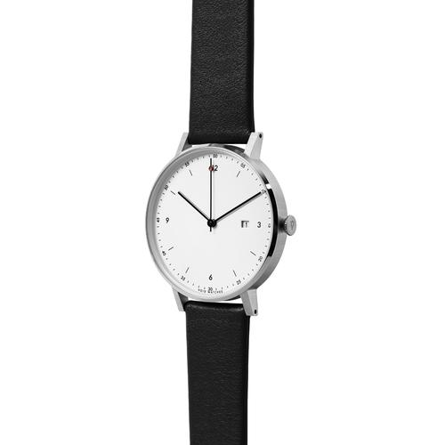 Silver Round Date | Black leather strap | White dial