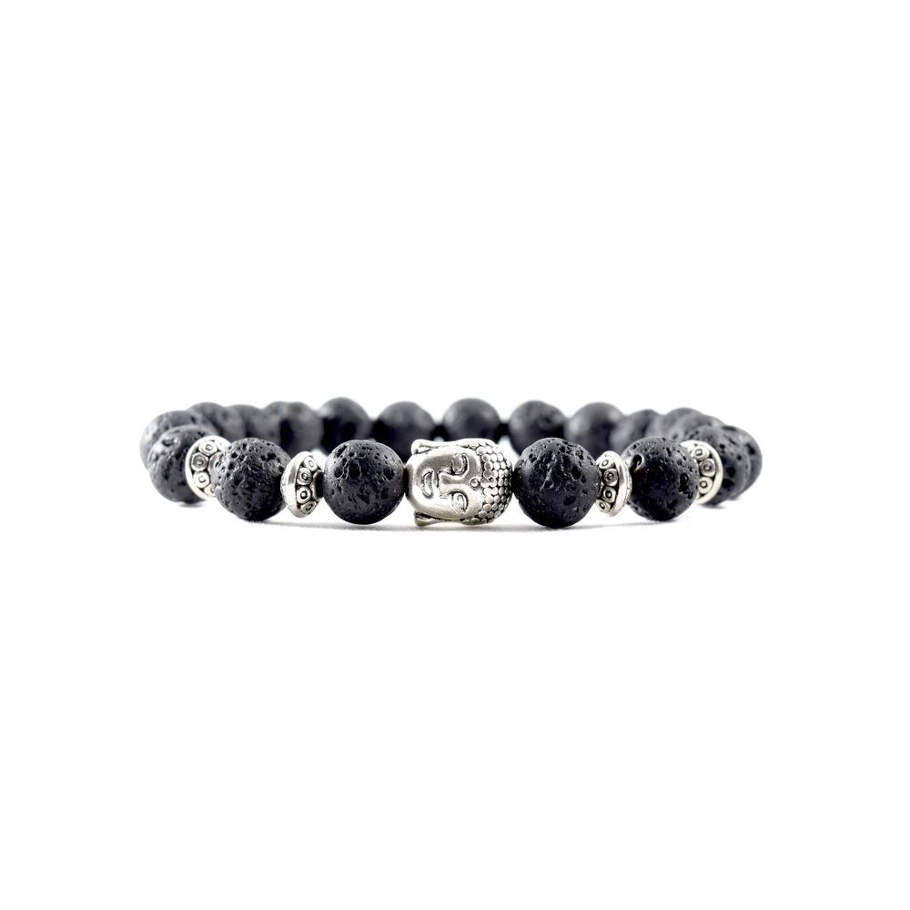 Silver Buddha | Lava Stone Bracelet | Executive Society