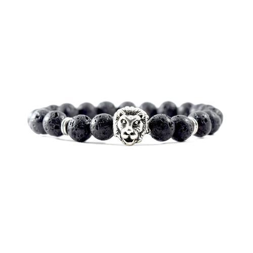 Silver Lion | Lava Stone Bracelet
